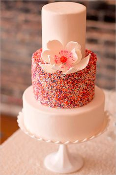 sparkly wedding cake | colorful wedding ideas | edible floral topper | #weddingchicks