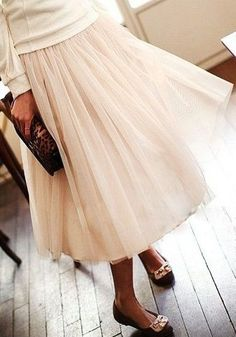 Layered Gauze Skirt - Nude - Mesh Overlay Bottom