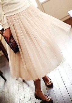 Layered Gauze Skirt - Nude - Mesh Overlay Bottom