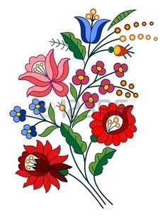 Illustration about A beautiful hungarian Kalocsai floral pattern. Illustration of kalocsai, needlecraft, material - 33245916 Hungarian Embroidery, Brazilian Embroidery, Learn Embroidery, Crewel Embroidery, Ribbon Embroidery, Art Floral, Bordado Popular, Embroidery Designs, Chain Stitch Embroidery