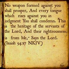 Isaiah 54:17 NKJV