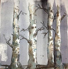 Watercolor >> birches - subtle use of color...