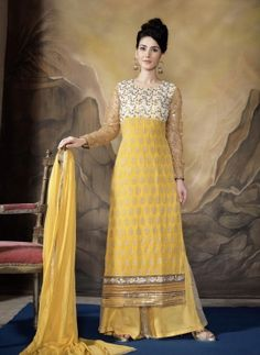 Yellow long Indian Punjabi plazzo kameez suit in georgette