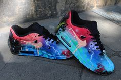 big sale 2f608 d2f64 Custom Airbrush Painted Nike Air Max 90 Crazy Funky Colours