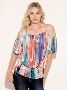[Código: BLU0023] Blusa con mangas caídas multicolor