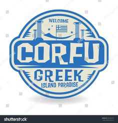 Stamp or label with the name of Corfu, Greek Island Paradise, vector illustration