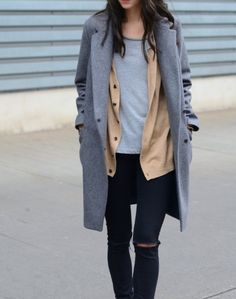 Layer your neutrals: Light grey T, beige cardi, grey peacoat with skinny black jeans.