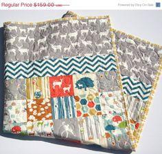 SALE Organic Quilt Deer Elk Animals All by SunnysideDesigns2, $149.00