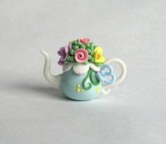 Miniature Pretty Mixed Flower Bouquet Teapot OOAK by C. Rohal #EasyPin: