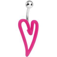 Pink Neon Modern Art Heart Belly Ring | Body Candy Body Jewelry