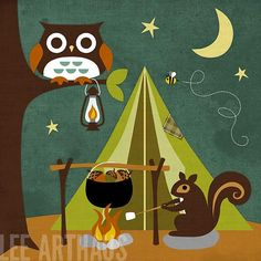 110R Retro Squirrel Camping 6 x 6 Print by leearthaus on Etsy, $15.00