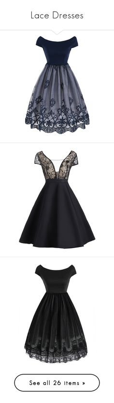 """""""Lace Dresses"""" by duma-duma ❤ liked on Polyvore featuring dresses, vintage lace cocktail dress, overlay dress, panel dress, vintage lace dress, fit and flare dress, lace panel dress, evening dresses, special occasion dresses and lace inset dress"""