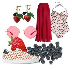 """""""Strawberrys and blueberrys"""" by daziahleemarie ❤ liked on Polyvore featuring J.Crew, Les Bernard, Chicwish, Ray-Ban and Paul Smith"""