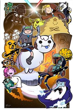 Funny pictures about Adventure Time meets Star Wars. Oh, and cool pics about Adventure Time meets Star Wars. Also, Adventure Time meets Star Wars. Adventure Time Crossover, Art Adventure Time, Adventure Time Characters, Adventure Kids, Cartoon Network, Culture Pop, Geek Culture, Marceline, Geeks