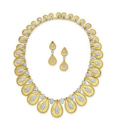 A set of diamond and gold jewelry, by Cartier #necklace #earrings #christiesjewels