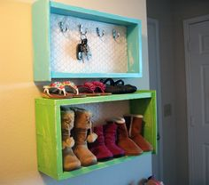 I need to do this..... Old drawers turned into shelves.