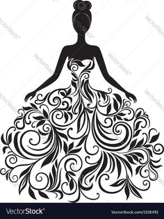 Vector silhouette of young woman in dress. Download a Free Preview or High Quality Adobe Illustrator Ai, EPS, PDF and High Resolution JPEG versions.