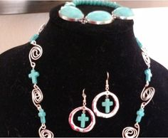 Spiral Wire Wrapped Necklace With Turquiose-colored Stones and Crosses