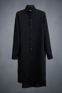 Gauze Stand Collar Long Shirt