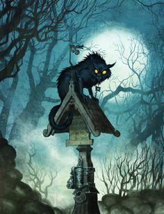Kyrkogrim/kirkegrim is a protector of church's and graveyards in Scandinavian folklore. In English folklore, it's called the church grim. Fantasy Creatures, Mythical Creatures, Supernatural Beings, Fantasy Illustration, Dark Fantasy Art, Fantasy Inspiration, Halloween Cat, Fandoms, Horror Art