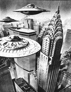 Chrysler Building when the saucers attack.  Spaceship, pulp retro futurism back to the future tomorrow tomorrowland space planet age sci-fi airship steampunk dieselpunk alien aliens martian martians BEMs BEM's