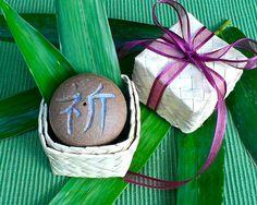 "Aloha Kanji Rock with Hawaiian Lauhala gift box, Japanese Incense burner, Prayer, Dance, Star, Light, Holiday Good-luck gift, 2""D x 1 1/2""H by AumakuaPottery on Etsy"