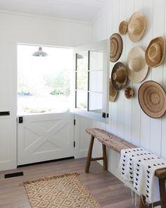 White wide dutch door with black hardware