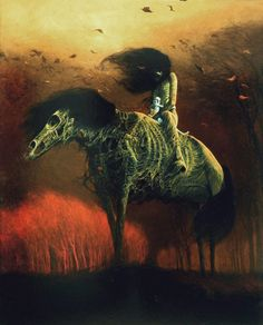 There are many fans of gruesome and gore art attracted to the dystopian surrealism of Zdzisław Beksiński. Dark Fantasy Art, Art Macabre, Art Sombre, Art Sinistre, Dystopian Art, Art Vampire, Dark Paintings, Horror Artwork, Dark Artwork