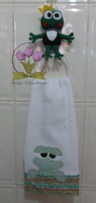 Ateliê Tulipa Arteira : Porta pano de prato em feltro e Pano de prato em p...