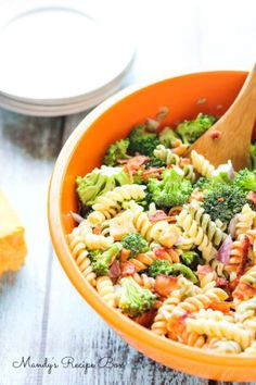 Pasta salad recipe.  We make this with Soy Free Vegenaise, gluten free pasta, and without the cheese.  Delicious!
