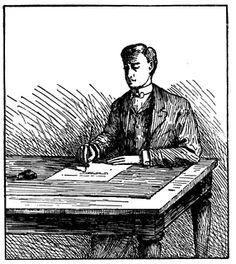 Man Writing at Table