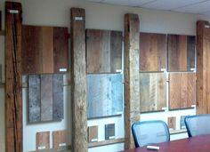 Reclaimed Wood Showroom in Temecula Reclaimed Hardwood Flooring, Old Wood Floors, Reclaimed Lumber, Hardwood Floors, House Insects, Old Barn Wood, Wood Display, Great Rooms, Beams