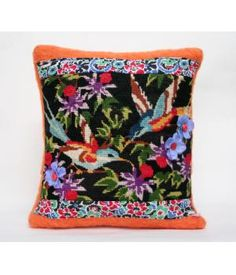 This pillow cover is made of a woolen blanket combined with vintage embroidery of birds, retro fabric and silk flowers.