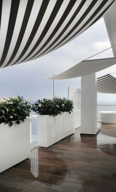 black and white stripe awning for shade, super tall planters along outer deck wall containing green flowering white overflowing will provide some privacy