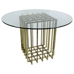 Pierre Cardin Brass Cage Form Dining Table Base | From a unique collection of antique and modern dining room tables at http://www.1stdibs.com/furniture/tables/dining-room-tables/