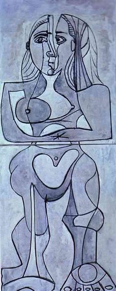 """Monolithic Nude, by Pablo Picasso, one of the great artists of Modernism and a co-founder of Cubism. Picasso was a prolific Spanish artist know for his """"Blue Period,"""" his """"Rose Period"""" and his """"Crystal Period. Henri Matisse, Henri Rousseau, Art Picasso, Picasso Paintings, Magritte, Paul Gauguin, Malaga, Cubist Movement, Georges Braque"""
