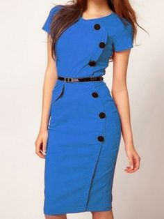 H&M inspired Stylish Single Breasted Bodycon Work Dress - PREPPY BEE