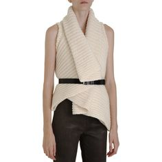 Ann Demeulemeester Chunky Knit Vest ($309) ❤ liked on Polyvore featuring outerwear, vests, tops, sweaters, cropped vest, vest waistcoat, pink vest and ann demeulemeester