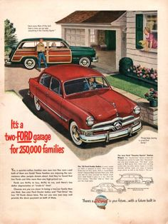 1950 Ford Fordor Sedan in red car print ad Country by Vividiom, $9.00