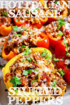 These Hot Italian Sausage Stuffed Peppers are as colorful as they are flavorful! Filled with hot Italian sausage, fire roasted tomatoes, rice, and deliciously melted cheese Ground Chicken Stuffed Peppers, Italian Stuffed Peppers, Stuffed Peppers With Rice, Stuffed Peppers Healthy, Sausage And Peppers, Stuffed Tomatoes, Hot Sausage Recipes, Ground Italian Sausage Recipes, Lunches