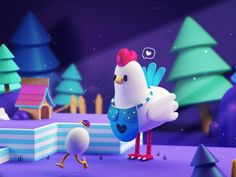 Mamma Chicken landscape nice characterdesign photoshop illustration 3d artist eggs cartoon forest cinema4d toy 3dchracters characters 3d chicken mamma 3d Character, Character Concept, Character Design, 3d Design, Game Design, 3d Cinema, Baby Animal Drawings, Animation Storyboard, Polygon Art