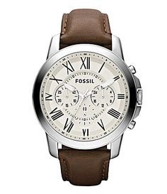 For Bradley. Fossil Grant Mens Leather Strap Dress Watch #Dillards