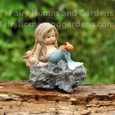 A beautifully crafted collectible mermaid for your beach themed fairy garden or mermaid collection. Little Mermaid Tattoos, The Little Mermaid, Mermaid On Rock, Baby Mermaid, Mermaid Dolls, Tiny Octopus, Fish Aquarium Decorations, Mermaid Drawings, Garden Drawing