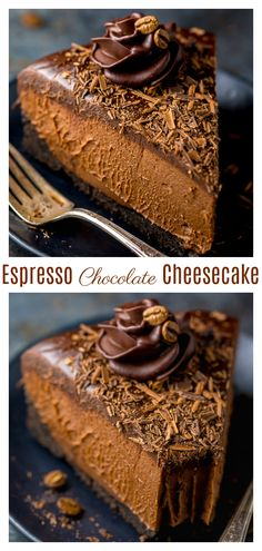 An easy and delicious recipe for No-Bake Espresso Chocolate Cheesecake! So rich and creamy. it's hard to stop at one slice. If you love the flavor combination of coffee and chocolate, you'll love this espresso cheesecake recipe! Espresso Cheesecake Recipe, No Bake Chocolate Cheesecake, Coffee Cheesecake, Baked Cheesecake Recipe, Non Bake Cheesecake, Turtle Cheesecake, Homemade Cheesecake, Classic Cheesecake, Chocolate Shavings