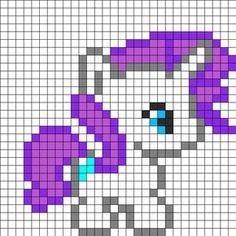 Baby_Rarity by Beave on Kandi Patterns Pony Bead Patterns, Kandi Patterns, Hama Beads Patterns, Beading Patterns, Modern Cross Stitch, Cross Stitch Designs, Cross Stitch Patterns, Modele Pixel Art, Pixel Drawing