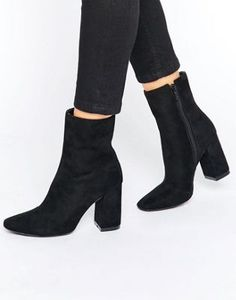 Boohoo High Ankle Block Heeled Boot