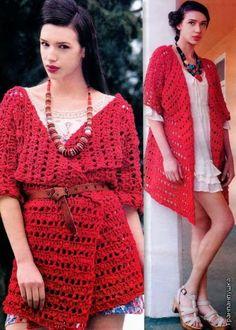 Cardigan Chaleco Crochet en 1 pieza