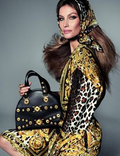 VERSACE Spring Summer 2018 Tribute Collection ad campaign featuring GISELE BÜNDCHEN photographed by STEVEN MEISEL