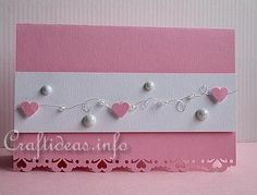 Valentine's Day Card - Beautiful Pink Valentine's Card with Hearts