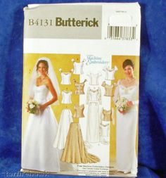 Butterick Misses Bridal Gown Wedding Top Skirt pattern VTG UNCUT Court or sweep train Flared lined skirt top variations princess seams Sweetheart neckline Out of Print vintage 2004 - OOP Creative Machine Embroidery Designs free offer is expired Dresses Short, Modest Wedding Dresses, Wedding Gowns, Bridesmaid Dresses, Boho Wedding, Rustic Wedding, Casual Wedding, Formal Wedding, Elegant Wedding